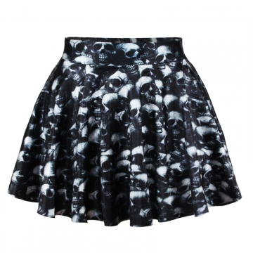 Black Summer Ladies Skull Print Pleated Skirt