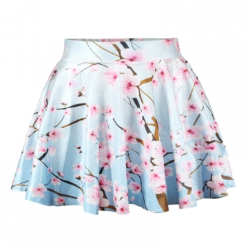 Blue Elegant Womens Peach Blossom Print Pleated Skirt