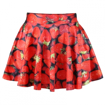 Red Cute Ladies Strawberry Print Pleated Skirt