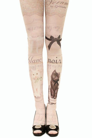 Beige Womens Black and White Cats Printed Cute Long Stockings