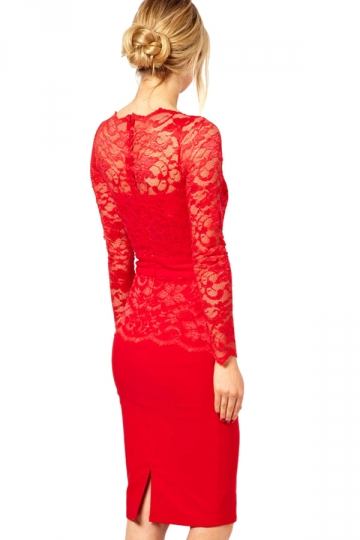 Elegant Lace Tunic Bodycon Evening Dress