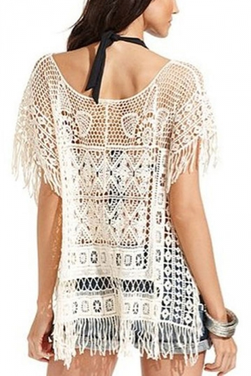 White Stylish Womens Scoop Crochet Fringe Loose Sheer Top