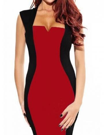 Red Trendy Cap Sleeve Ladies Bodycon Dress