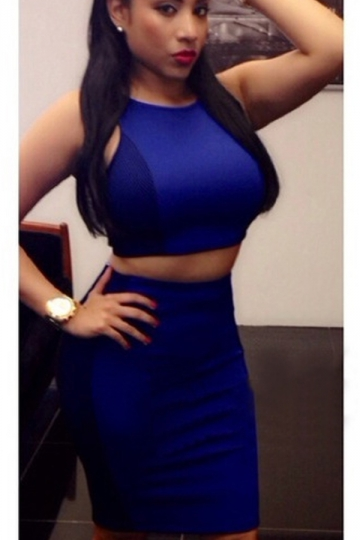 navy blue womens tight sleeveless crop top & sexy skirt suit - pink