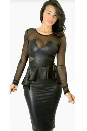 Sexy black peplum dress