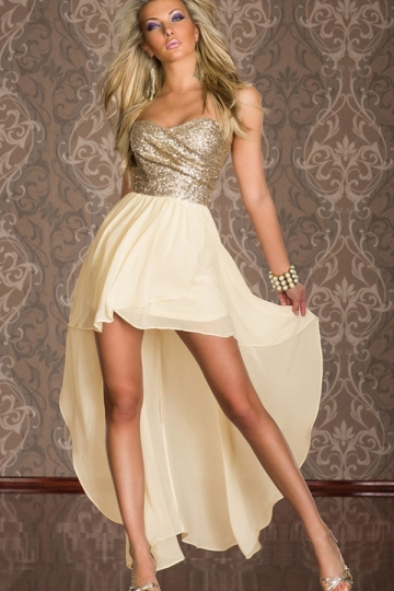 Pretty Womens Strapless Sequin High Low Cocktail Dress