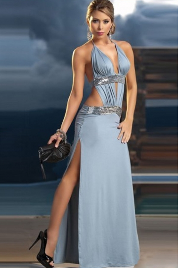 Sexy Side Cut Out Halter V Neck Backless Ladies Elegant Maxi Dress ...