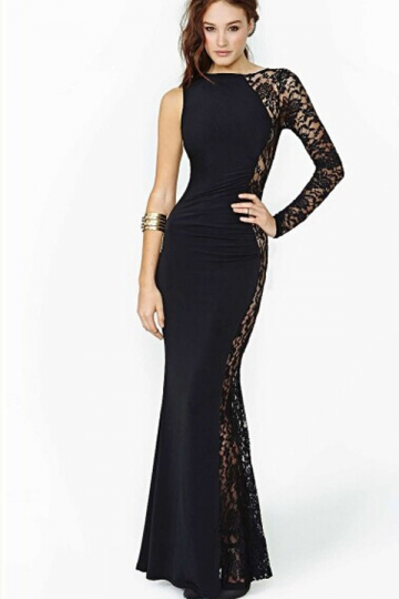 Black Trendy Ladies Lace One Shoulder Chiffon Evening Dress