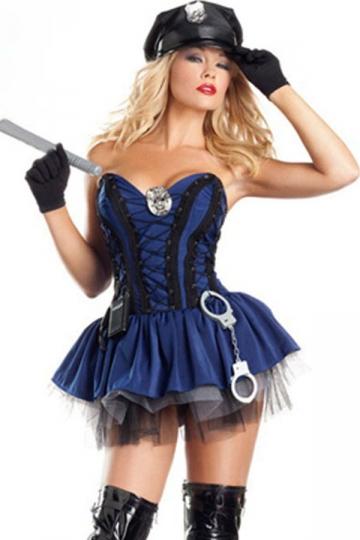 Blue Sexy Cop Halloween Costume For Women - PINK QUEEN