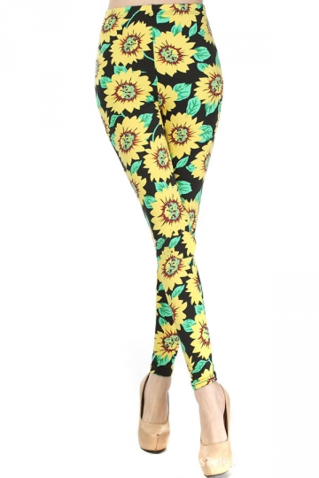 Yellow Sexy Womens Sunflower Printed Floral Leggings