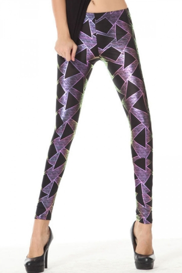 Purple Trendy Womens Geometry Printed Sequin Leggings