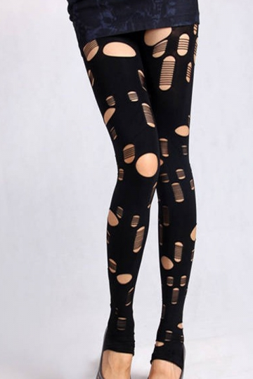 Black Fashion Womens Velvet Skinny Ripped Leggings