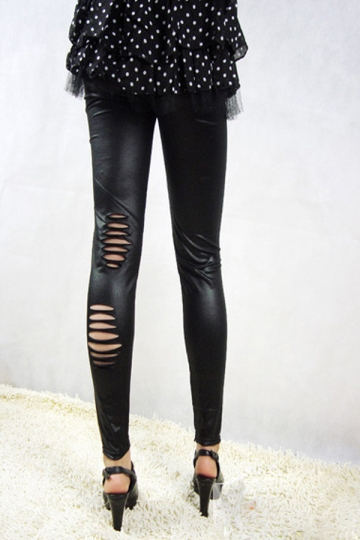 Black Modern Womens Faux Leather Irregular Ripped Leggings