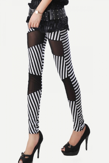 White Unique Ladies Fishnet Patchwork Skinny Striped Leggings