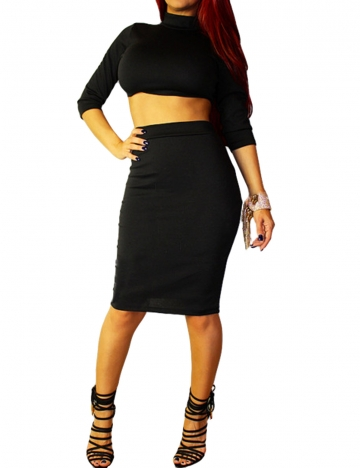 Black Trendy Womens Half Sleeve Crop Top & Tight Skirt Set