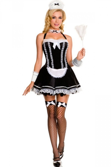 Cute French Maid Halloween Costume For Girls - PINK QUEEN