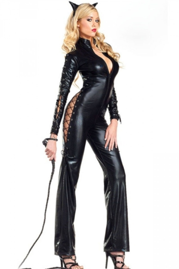 Black Sexy Womens Faux Leather Jumpsuit Cat Halloween Costume ...