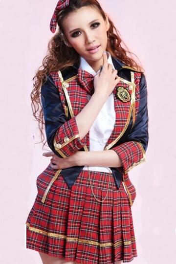 Red Cute Sexy Uniform School Girl Costume