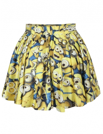 Yellow Womens Cute Minions Trendy Pleated Skirt