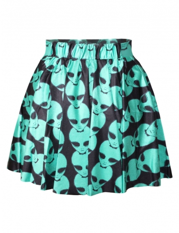 Blue Sexy Ladies Aliens Printed Cool Pleated Skirt