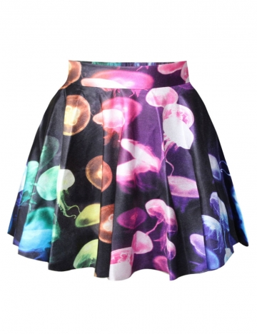 Black Jellyfish Printed Cute Womens Pleated Skirt