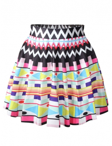 Black Womens Colorful Figures Printed Cute Pleated Skirt