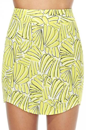Yellow Chic Womens Banana Printed Zipper Pencil Skirt