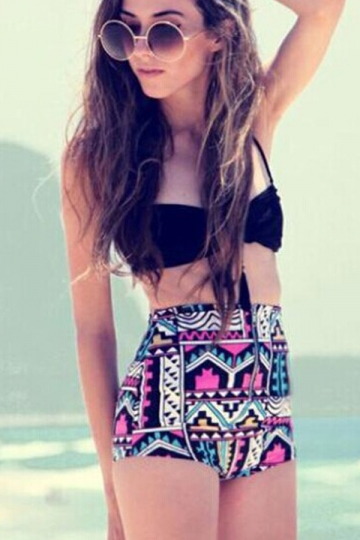Black Halter Bikini Top & Colorful High Waisted Swimsuit Bottom