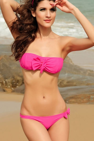 Rose Red Bandeau Bow Swimsuit Top Amp Cute Bikini Bottom