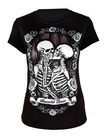 Black Womens Skulls Printed Cool Punk Pullover Short Sleeves T Shirt