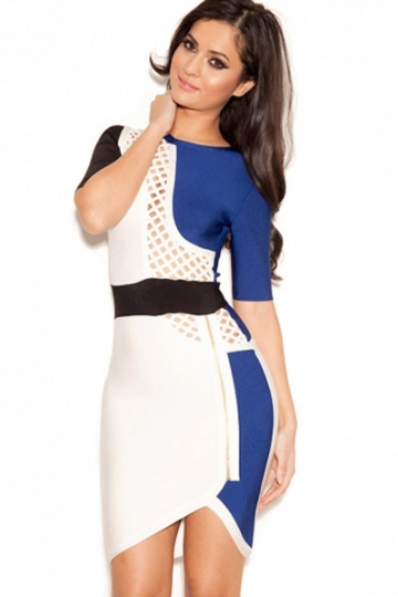 Blue White Black Mid Sleeves Bandage Dress