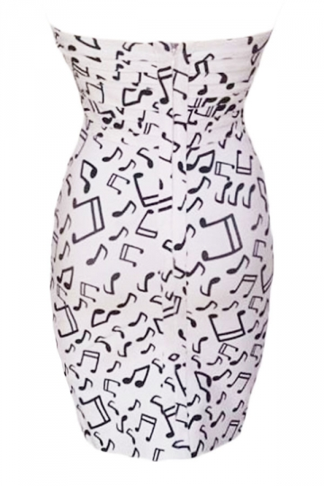 Kim Kardashian Musical Notes Strapless Bandage Dress