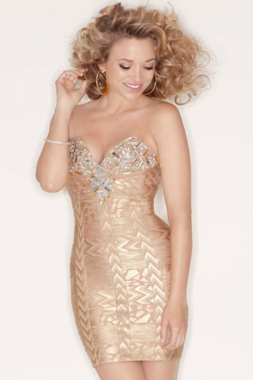 Luxurious Strapless Beaded Gold Printed Bandage Dress