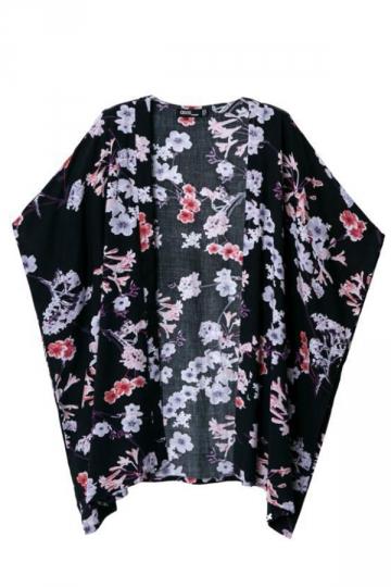 Black Retro Ladies Batwing Sleeves Floral Kimono