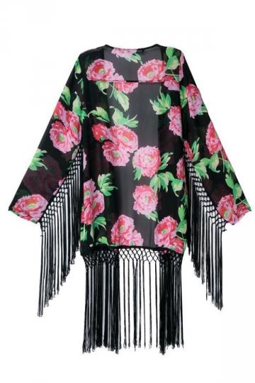 Black Charming Womens Long Sleeves Floral Tassel Kimono