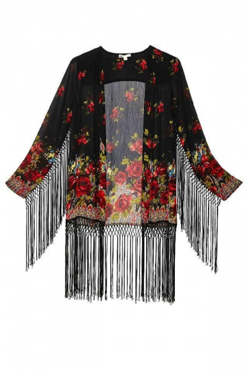 Fashion Ladies Long Sleeves Floral Tassel Kimono