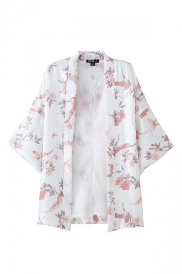 White Fashion Ladies Long Sleeves Floral Birds Print Kimono