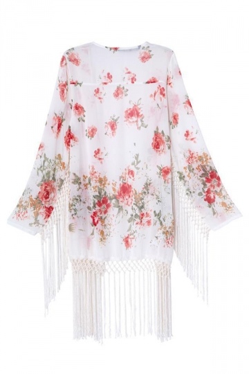 White Pretty Womens Long Sleeves Floral Tassel Kimono