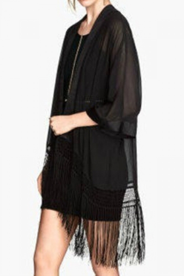 Black Delicate Ladies Long Sleeves Tassel Chiffon Kimono