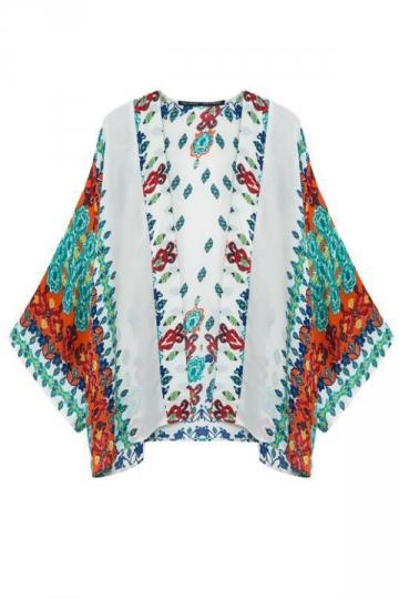 Multicolour Loose Womens Chiffon Floral Kimono