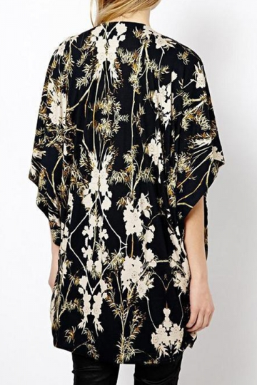 Black Pretty Womens Long Sleeves Floral Loose Kimono