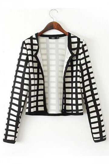 Black and White Classic Womens Plaid Long Sleeve Blazer