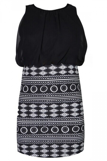 Black Sexy Womens Geometric Figure Printed Sleeveless Tank Dress