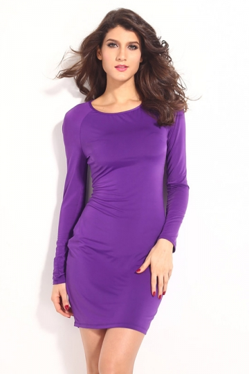 Purple Elegant Ladies Crew Neck Cut Out Cross Long Sleeve Dress