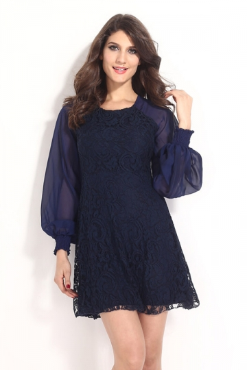 Navy Blue Cute Ladies Crew Neck Sheer Long Sleeve Dress - PINK QUEEN
