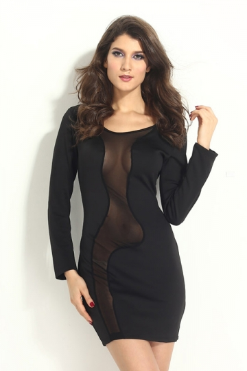 Black Sexy Womens Long Sleeves Irregular Fishnet Clubwear Dress