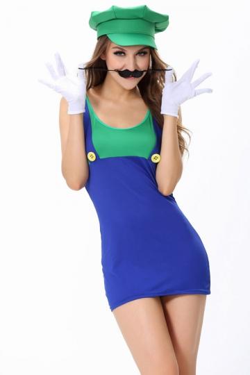 Green Cute Girls Super Mario Cartoon Halloween Costume - PINK QUEEN