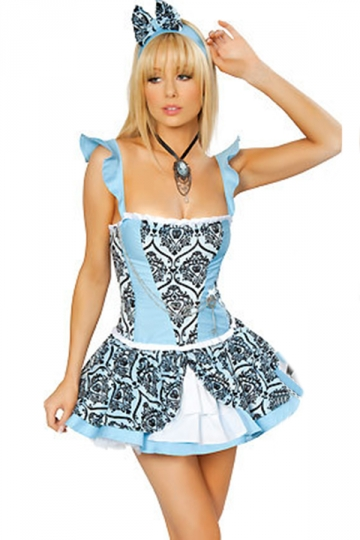 Blue Printed Alice in Wonderland Costumes