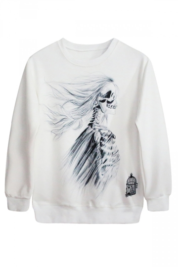 White Gothic Ladies Skeleton Printed Sweatshirt