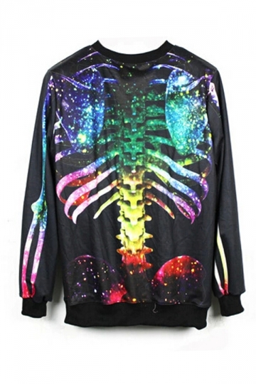 Multicolour Stylish Womens Skeleton Printed Sweatshirt